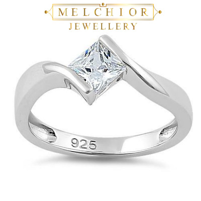 Sterling Silver Clear Princess Cut 0.71ct Created Diamond Engagement Ring Size S • 17.95£