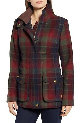 £239.95 • Buy Joules Tweed Wool-Mix Field Coat (Red Check)  Size 18    BNWT