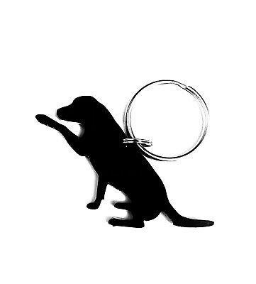 Labrador Dog With Paw Keyring Keychain Gift In Black • 2.70£