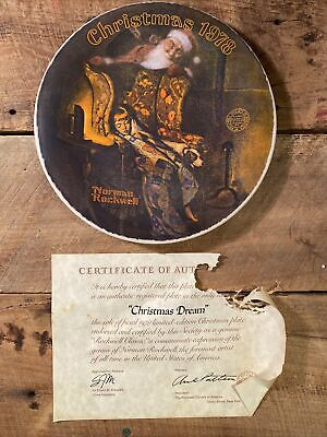 "$ CDN30.33 • Buy Norman Rockwell Society Plate ""Christmas Dream"" 1978 W/ Certificate #5153C"