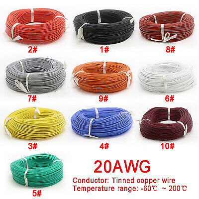 AU5.28 • Buy 20AWG 0.5mm² Flexible Silicone Cable, HIGH TEMP 200℃, 0.08mm Tinned Copper Wire