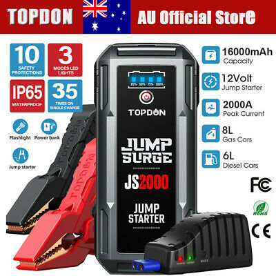 AU139.99 • Buy TOPDON Portable Car Jump Starter 2000A Emergency Battery QI Charger Powerbank