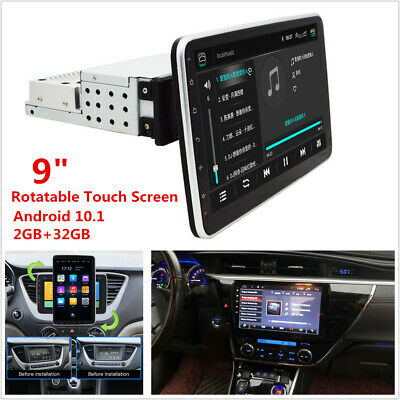 AU328.76 • Buy 1 DIN Rotatable Touch Screen Android 10.1 Car Stereo Radio GPS Wifi Mirror Link