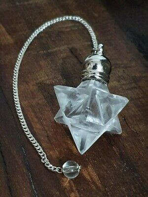 Gemstone Merkaba / Star Pendulum With Chain - CLEAR QUARTZ - All Healer • 14.99£