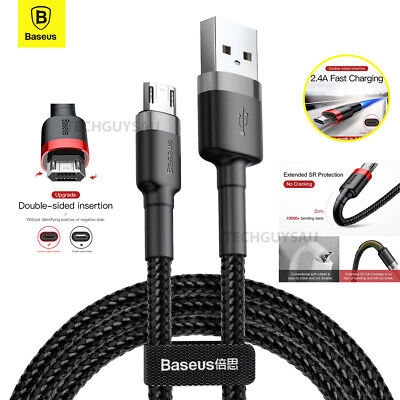 AU7.79 • Buy Baseus Micro USB 2.4A Fast Charging & Data Sync Cable Cord For Android Samsung