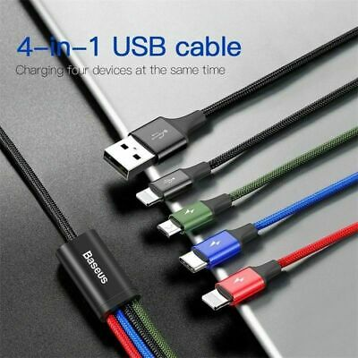 AU15.39 • Buy Baseus 4 In 1 Multi USB Charging Charger Cable Cord For Type C/iPhone/Android