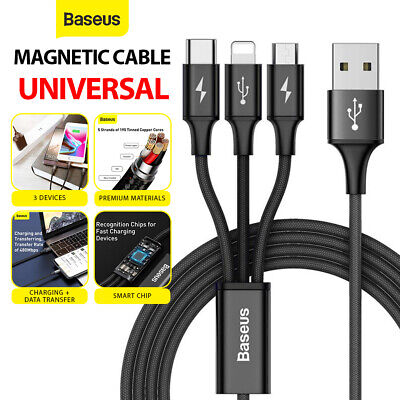 AU9.99 • Buy Baseus 3 In 1 USB Charging Cable Braided Data Cord For Android + IPhone + Type-C