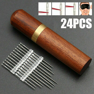 24Pcs Stainless Steel Opening Sewing Darning Needles Boxes Self-Threading Sharp • 6.74£
