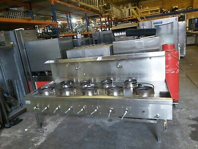 Chinese Wok Cooker  9 Burners Nat Gas Wok Cooker Commercial Indian Wok Serviced • 3,200£