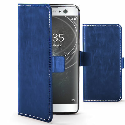 $ CDN7.49 • Buy Sony Xperia XA2 Case Cover By FC - PU Leather Flip Wallet Stand - Blue