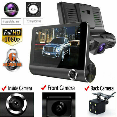 AU33.79 • Buy 4 Inch Cars DVR 3 Lens Dash Cam Front And Rear Video Recorder G-sensor LCD Cam