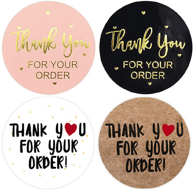 Thank You For Your Order Stickers Black Pink Gold Brown Business Labels 25mm • 3.99£