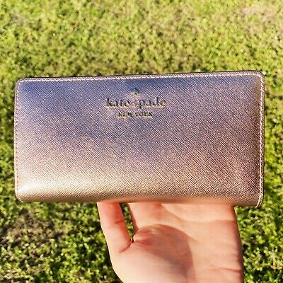 $ CDN89.30 • Buy Kate Spade Cameron Staci Large Slim Bifold Wallet Rose Gold Saffiano Leather