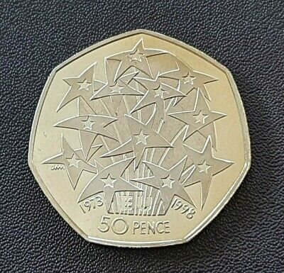 1998 Elizabeth II 50p Fifty Pence PROOF Coin, EU 25th Anniversary (T) • 9.99£