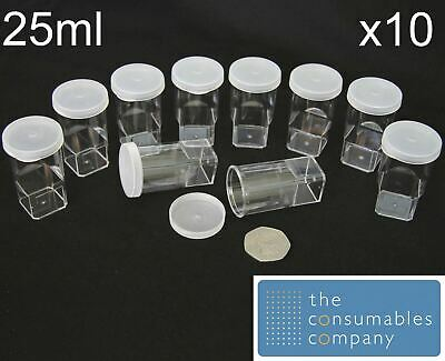25ml Specimen Container Snap On Cap  Sample Jar Pot Craft Beads Counting X10 • 9.52£