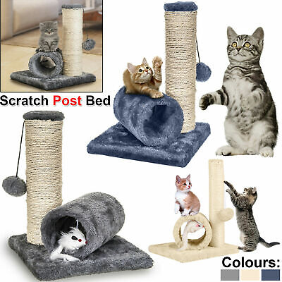 Sisal Cat Kitten Tunnel Scratching Post Bed Toy & Mouse Pet Activity Play Fun UK • 8.19£