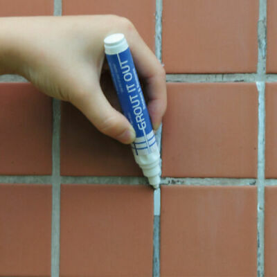 GROUT REFRESHER PEN White Brighten Discoloured Whitening Bathroom Kitchen Tile • 2.40£