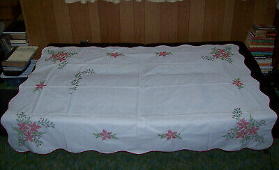 $ CDN19.41 • Buy Vintage Christmas Poinsettia Embroidery 68  X 49  Tablecloth, Unfinished