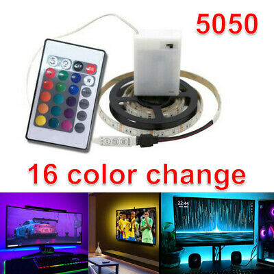 $12.34 • Buy Battery Operated 5050 RGB LED Strip Light Remote Fairy Lights Room TV Party Bar