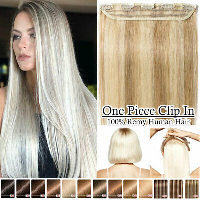 £28.40 • Buy CLEARANCE One Piece Clip In Real Remy Human Hair Extensions Highlight Thick LK02