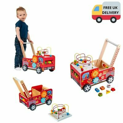 Solid Walker Wooden Fire Truck Station Wagon First Steps Push Along Toy Kids • 34.99£