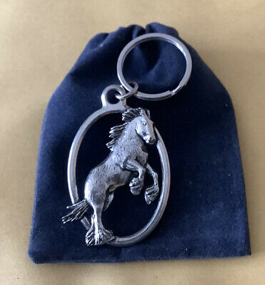 Shire Horse Silver Pewter Keyring With A Velveteen Gift Bag • 6.99£