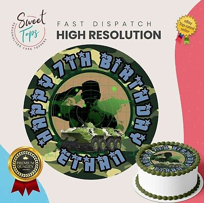 £5.49 • Buy Army Edible Round Birthday Cake Topper Decoration Personalised