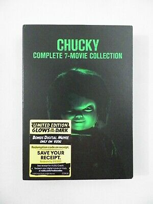 Chucky Child's Play 7 Films Glow In The Dark Cover DVD Limited Edition Sealed • 25.03£