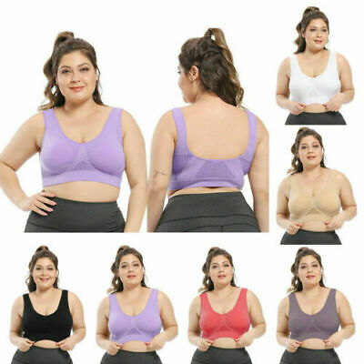 £3.89 • Buy Padded Sports Bra Yoga Gym Running Vest Support Crop Top Stretch Bras Plus Size