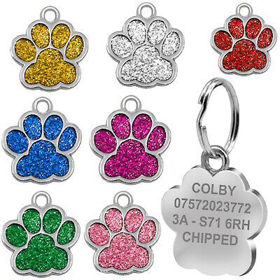 £3.50 • Buy Engraved Dog Tag Personalised Name Charm ID Collar Puppy Animal Paw Glitter Neck