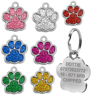 £3.50 • Buy Engraved Pet Tag Dog Cat Personalised Name Charm ID Collar Animal Paw Glitter UK