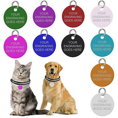 £4.05 • Buy Engraved Pet Tags Personalised Dog Cat Charm Round Name Collar Animal ID Disc UK