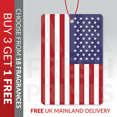 United States Of America Flag Car Air Freshener Choice Of Scents FL00180 • 3.99£