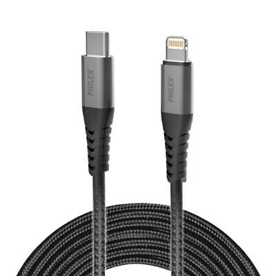 AU13 • Buy Philex 1.2m Braided Fast Charging USB-C To Lightning Cable For IPhone 8/XS/11