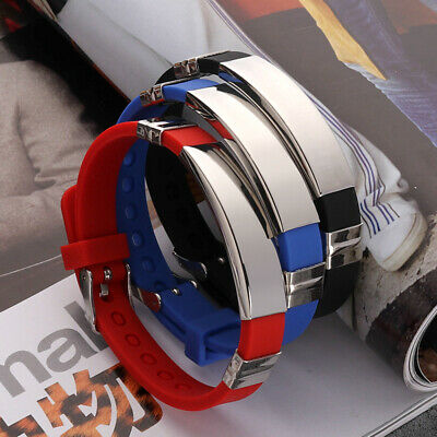 Fashion Bangle Men Bracelet Stainless Steel Silica Gel Band Strap Chain Jewelry • 3.14£