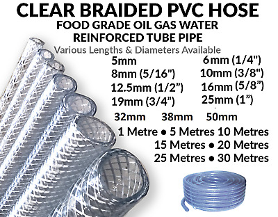 £2.46 • Buy Clear PVC Braided Hose Pipe Food Grade Air Water Oil Reinforced -Pick Size & Len