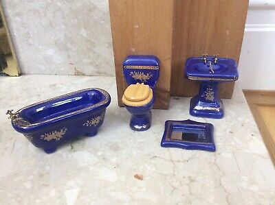 Dolls House Emporium Furniture  Blue Victorian  Sink  Basin Bath Toilet Set (Oc) • 7£