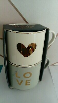 £10.84 • Buy Set Of Two Large Stacking Mugs Love Valentines Gift Grey Gold Mugs NEW