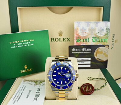 $ CDN21046.63 • Buy ROLEX - 18kt Gold & SS SUBMARINER Blue With Card Smurf 116613 - SANT BLANC