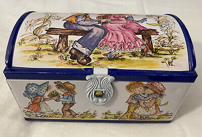 Vintage Hollie Hobby Blue Bird Chest Shaped Sweet Tin • 8.99£