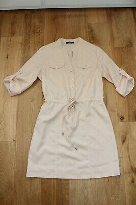 Pale Nude Colour Button Up Dress Size Small 6-8 • 5£