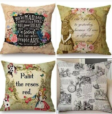 Alice In Wonderland Cushion Cover 45cm X 45cm Linen Blend • 6.99£
