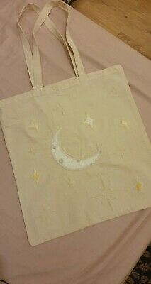 Moon And Stars Embroidery Cotton Tote Bag • 7£