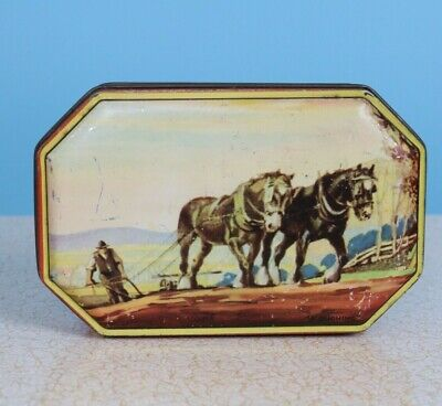 1950s Vintage Blue Bird Toffee / Sweet Tin With Ploughing Horses • 10£