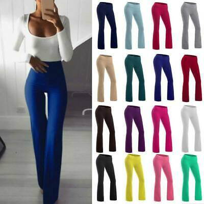 AU27.79 • Buy Cotton Boot Cut Flare Yoga Pants Women High Waist Trousers Workout Casual Pants