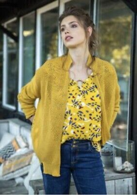 £22 • Buy MISS CAPTAIN TORTUE Mustard Relaxed Detailed Cardigan Size T1 Size 10-12 RRP £70