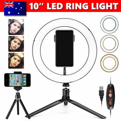AU22.95 • Buy 10 Inch LED Ring Light With Stand And Phone Holder Make-up For Camera IPhone AU