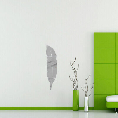 Removable Adhesive 3D Feather Mirror Wall Living Room Bedroom Bathroom A2H6 • 7.74£