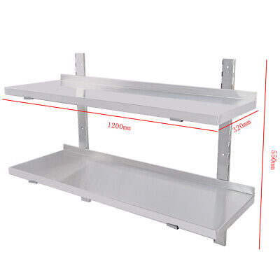 Commercial Stainless Steel Shelves Catering Kitchen Room Wall 2 X Shelf 120cm • 73.80£