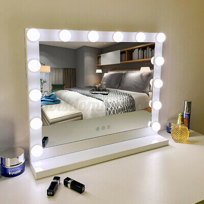White 14 Bulb Hollywood Mirror Makeup Vanity Beauty Table Cosmetic 3 Color LED • 65.99£